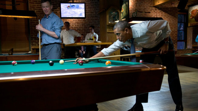 Photo: Obama shoots pool with Hickenlooper