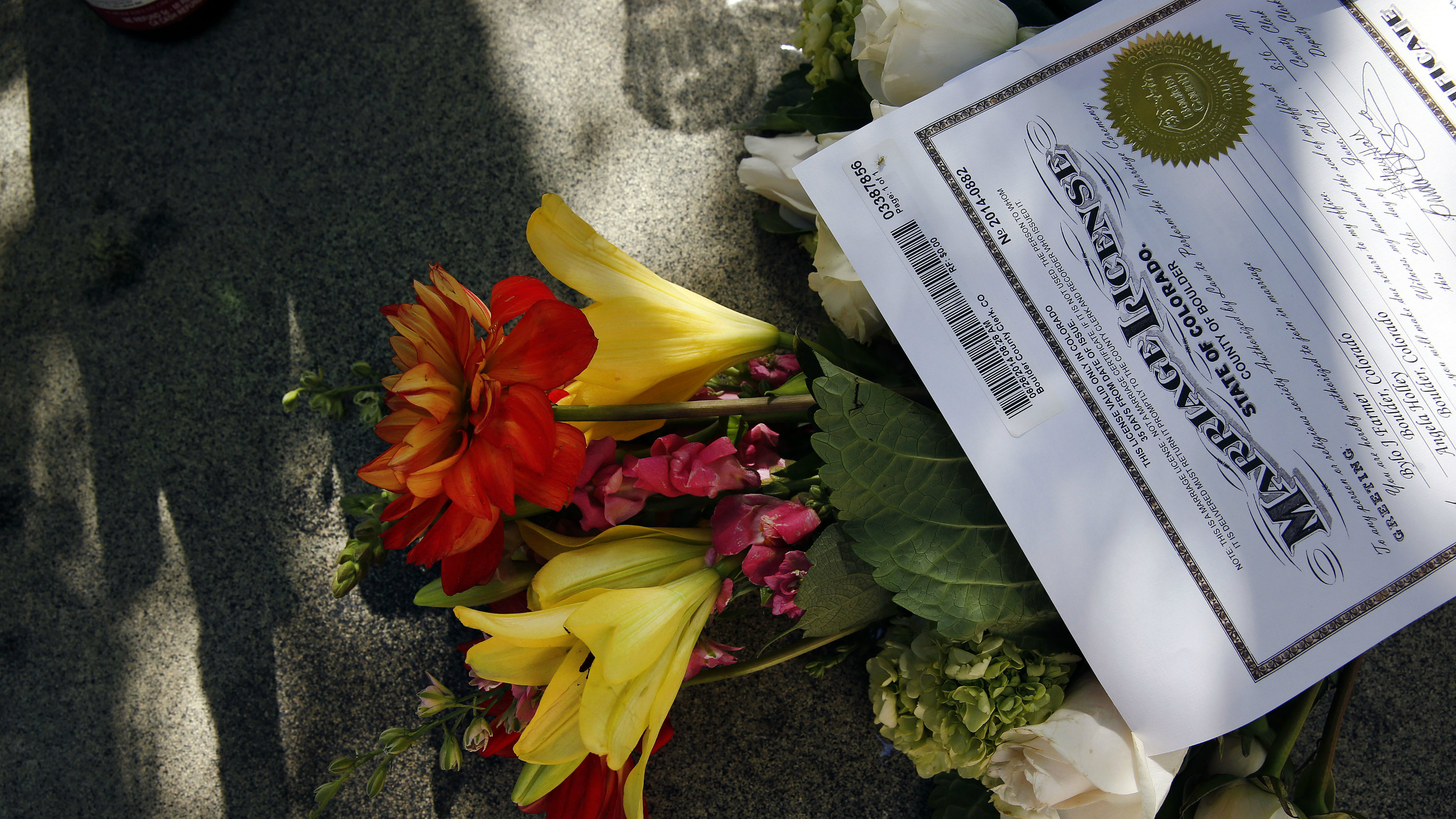 Photo: Gay Marriage flowers and license (AP Photo)