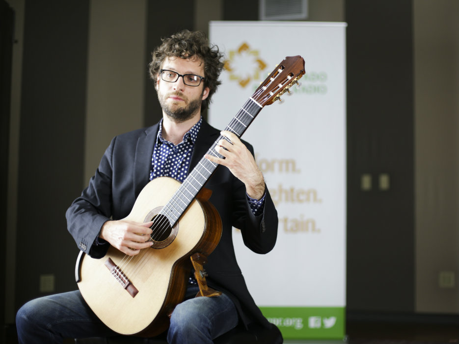 Classical guitarist Rupert Boyd in the CPR Performance Studio