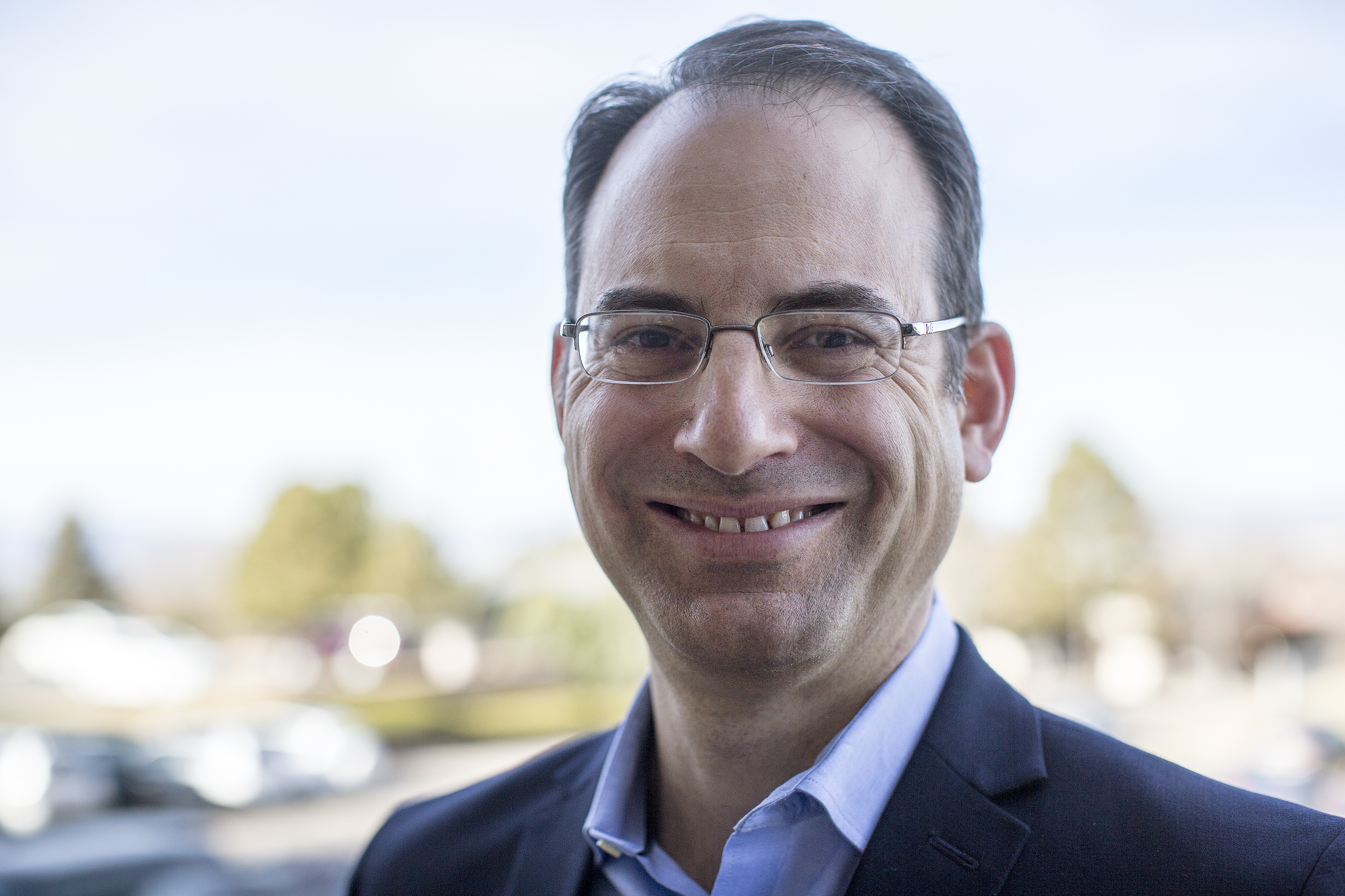 <p>Phil Weiser at the CPR studios Monday Dec. 17, 2018.</p>