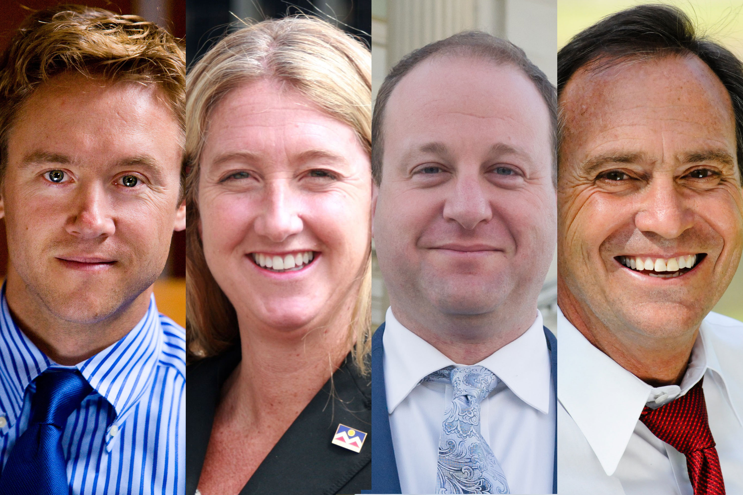 <p>Four of the leading candidates for the Democratic nomination for Colorado's governor, left to right: former state senator Mike Johnston, former state treasurer Cary Kennedy, and U.S. Reps Jared Polis and Ed Perlmutter.</p>