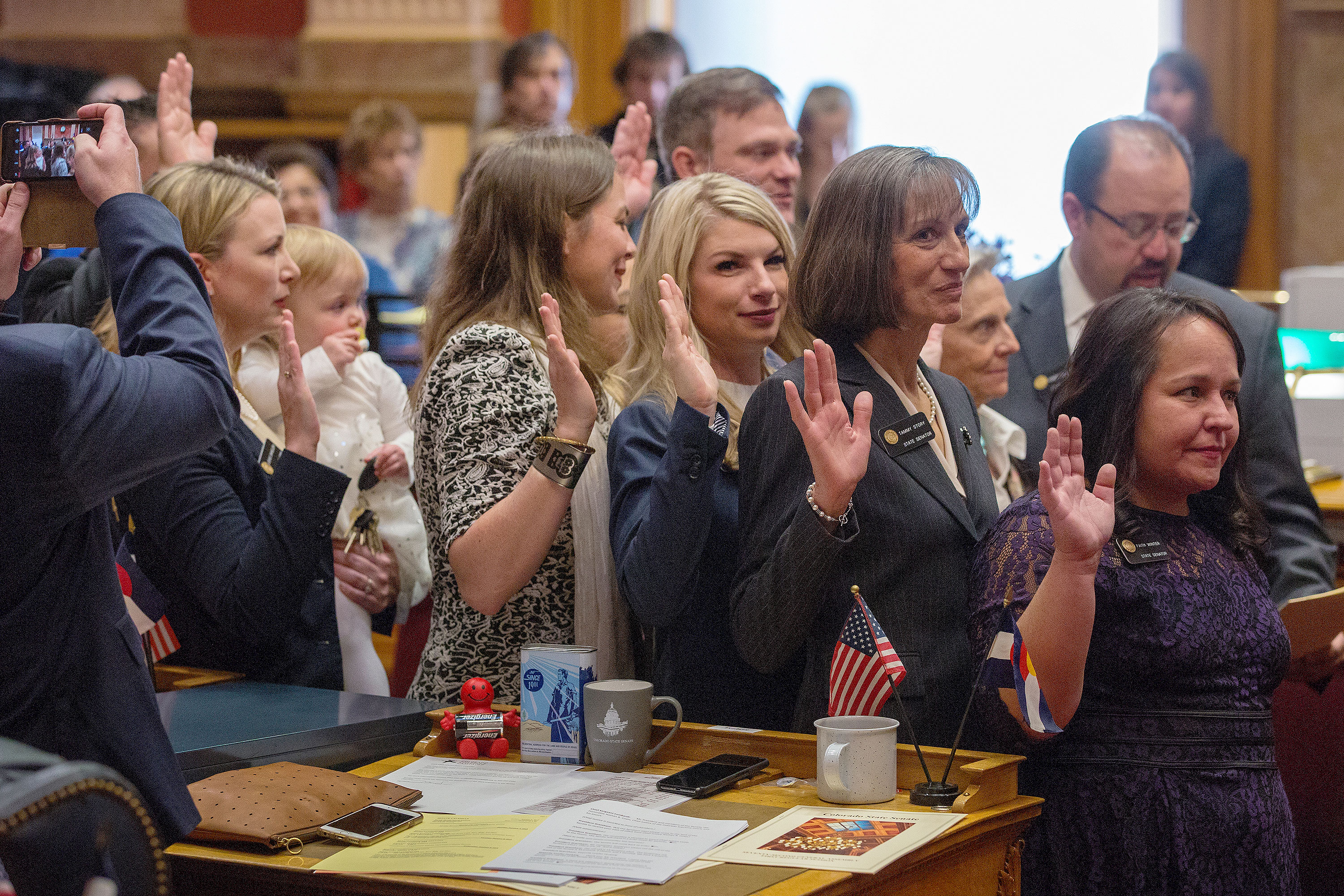 The five newly elected women, all Democrats, who helped theirparty regain control of the Senate. From left: Jessie Danielson holding daughter Isabelle Beth Kabza, Kerry Donovan,Brittany Pettersen, Tammy Story and Faith Winter. Pettersen is the target of a recall effort.