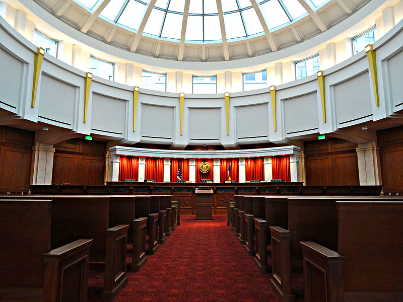 The Colorado Supreme Court courtroom, located on the fourth floor of the Ralph L. Carr Colorado Judicial Center, in Denver, Colorado.