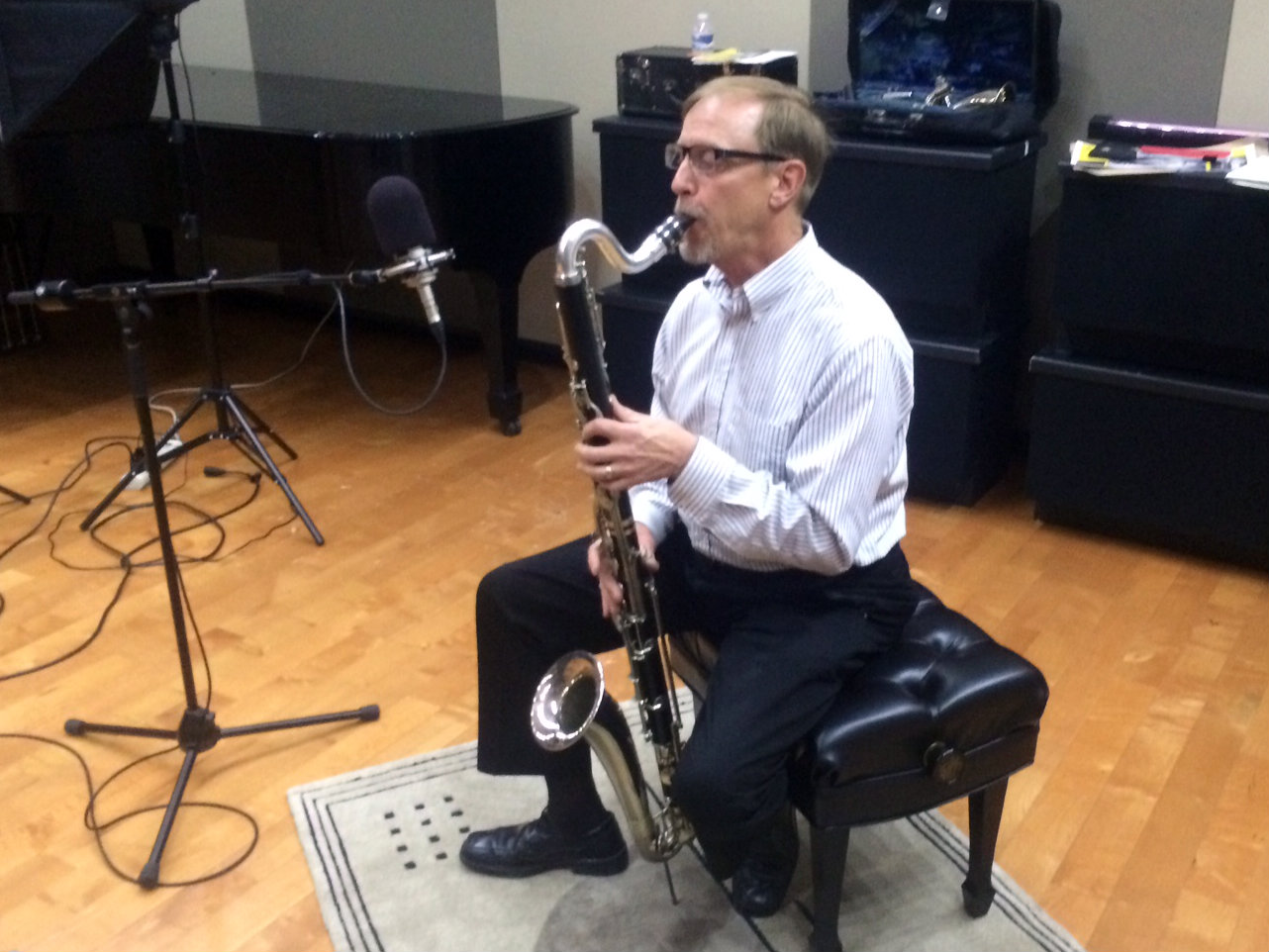 Photo: Andy Stevens and bass clarinet in CPR Performance Studio 1