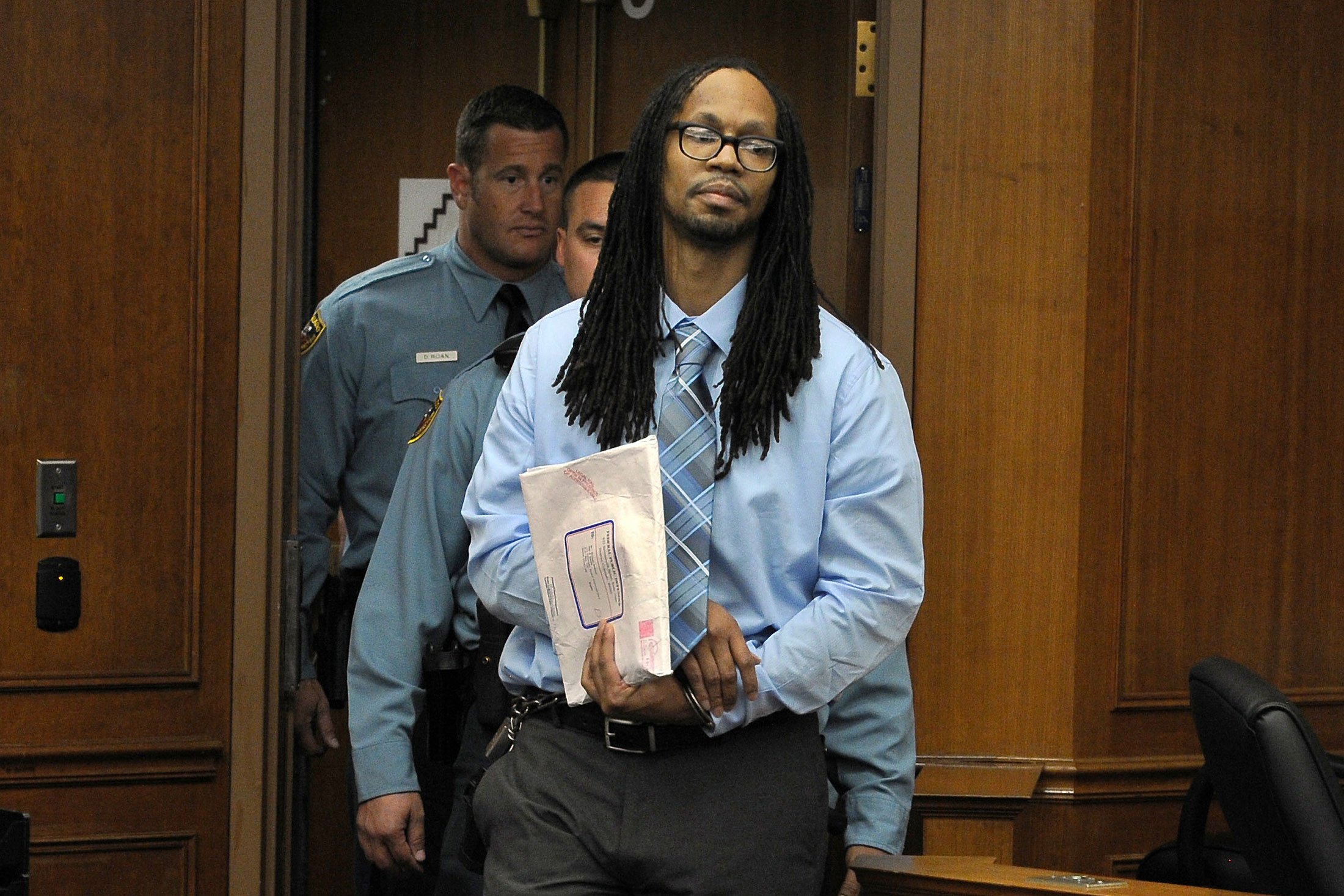 Nathan Dunlap appears for a hearing at Arapahoe County Court in Centennial, Colo., May 1, 2013.