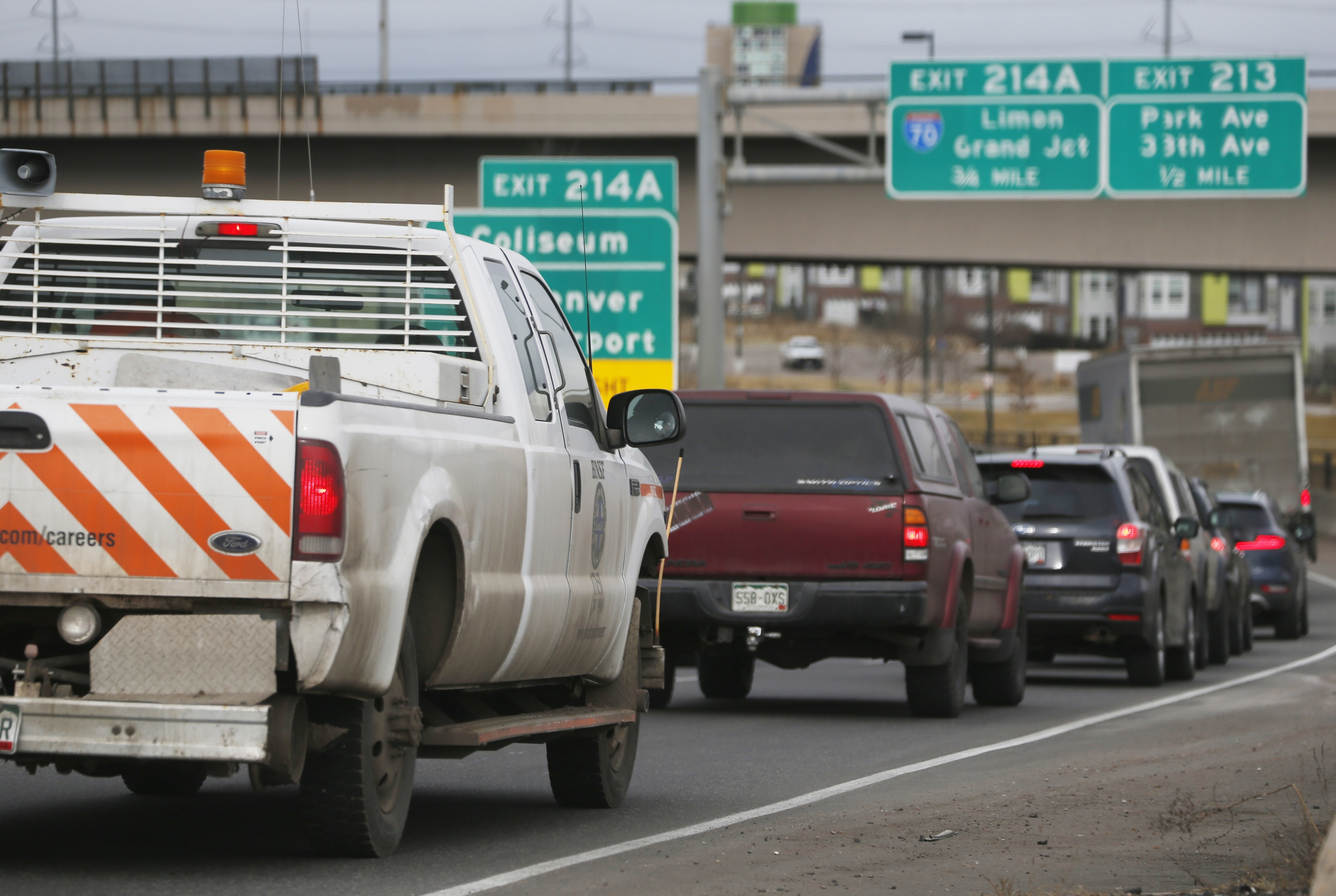 <p>In this Feb. 20, 2015 file photo, traffic comes to a standstill along Interstate 25, in downtown Denver.</p>