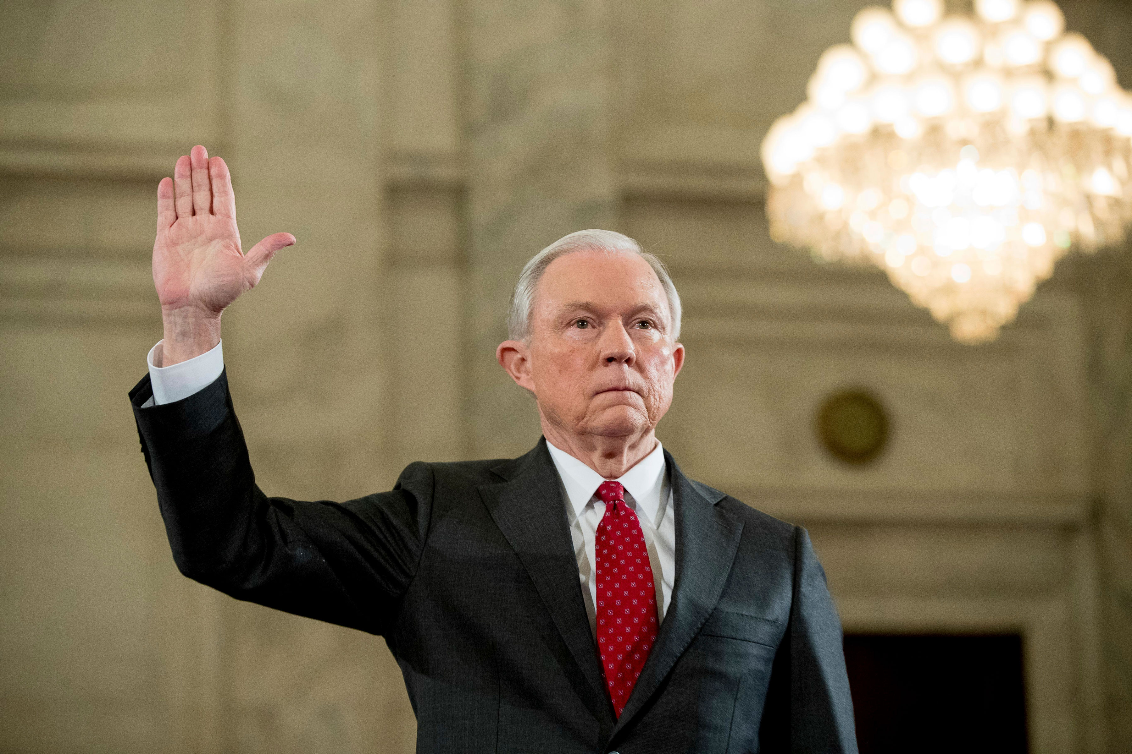 Photo: Jeff Sessions Confirmation Hearing Swearing In - AP Photo