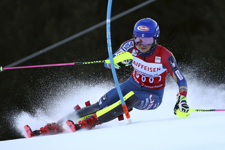 <p>Mikaela Shiffrinon the women's World Cup slalomin Lenzerheide, Switzerland, on Jan. 28.</p>