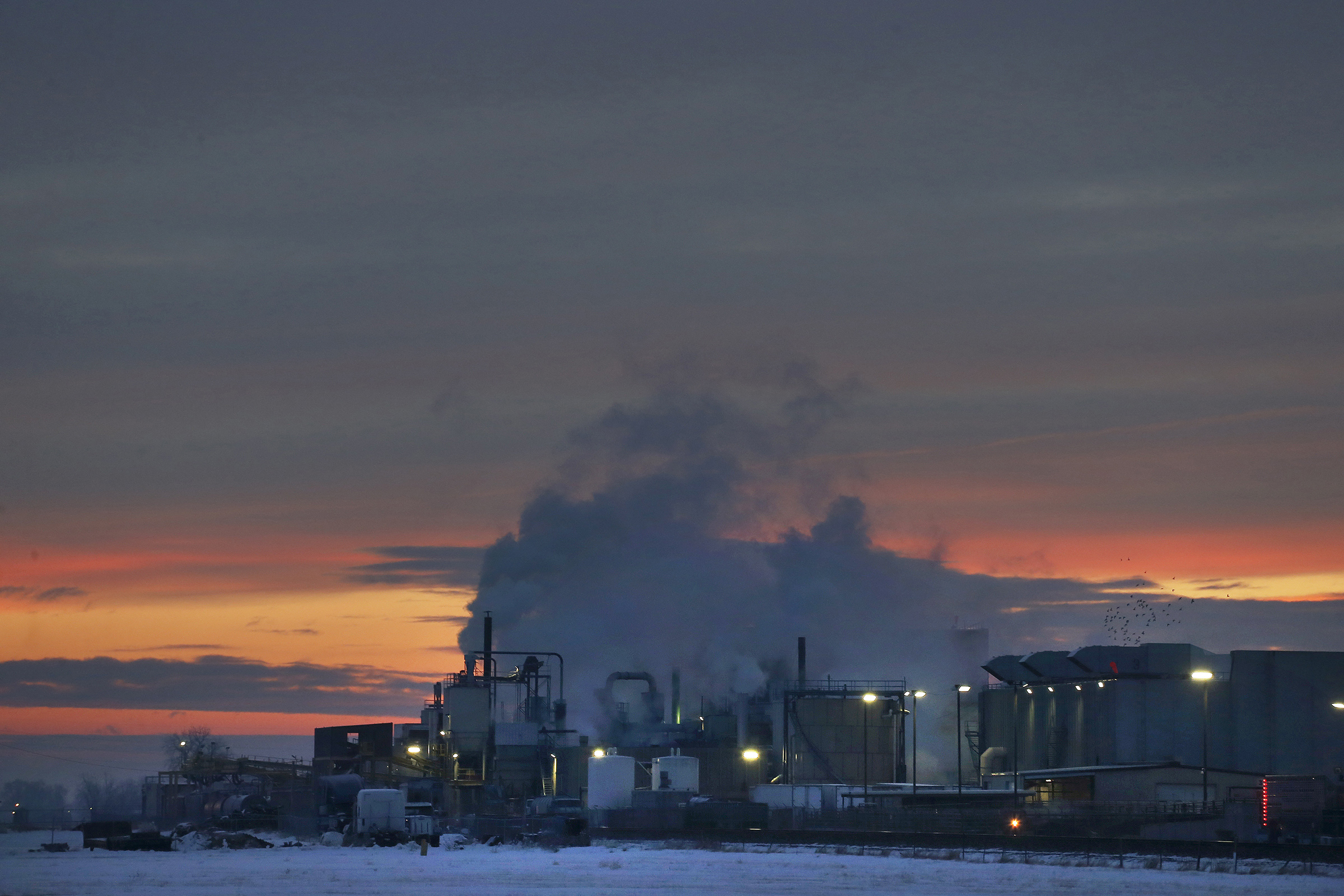 <p>In this January 2016 photo, dawn approaches over the meat processing plant owned and run by Cargill Meat Solutions, in Fort Morgan, a small town on the eastern plains of Colorado. Fort Morgan has about 1,200 Somali immigrants, themselves mostly refugees, many of whom work at Cargill.</p>