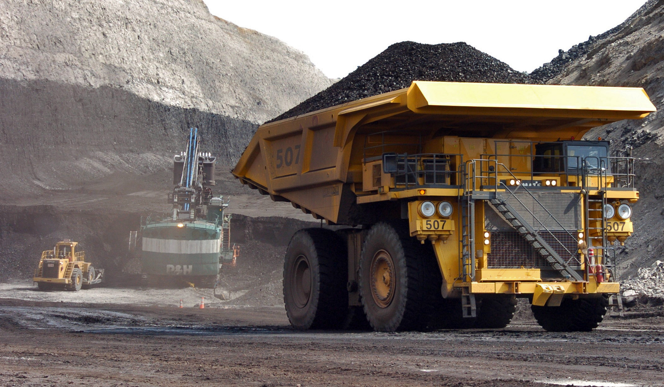<p>In this April2013 photo, a truck carrying 250 tons of coal hauls the fuel to the surface of the Cloud Peak Energy's Spring Creek mine near Decker, Mont. The mine is located on public land.</p>