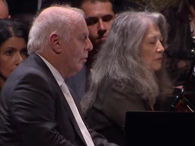 <p>Pianists Daniel Barenboim and Martha Argerich in concert.</p>
