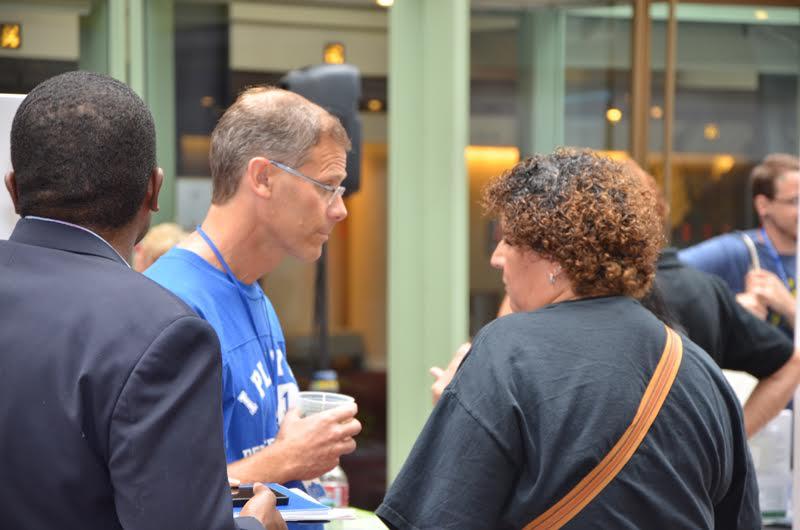 Photo: Boasberg talking to union member