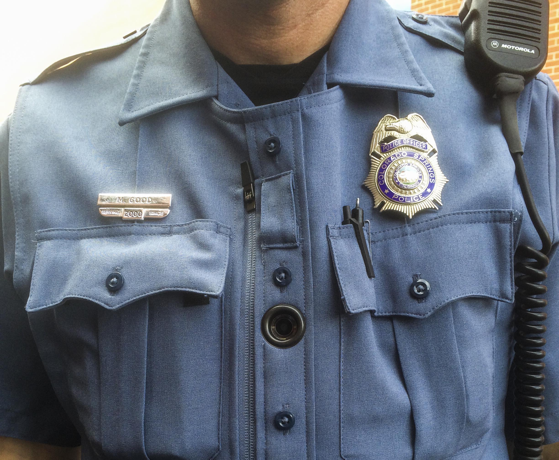 A Colorado Springs police officer wears a body camera.
