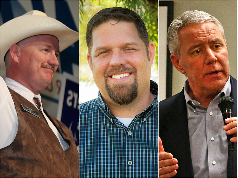 <p>From left: Democrat Bob Seay, Republican Ken Buck and Libertarian Bruce Griffith.</p>