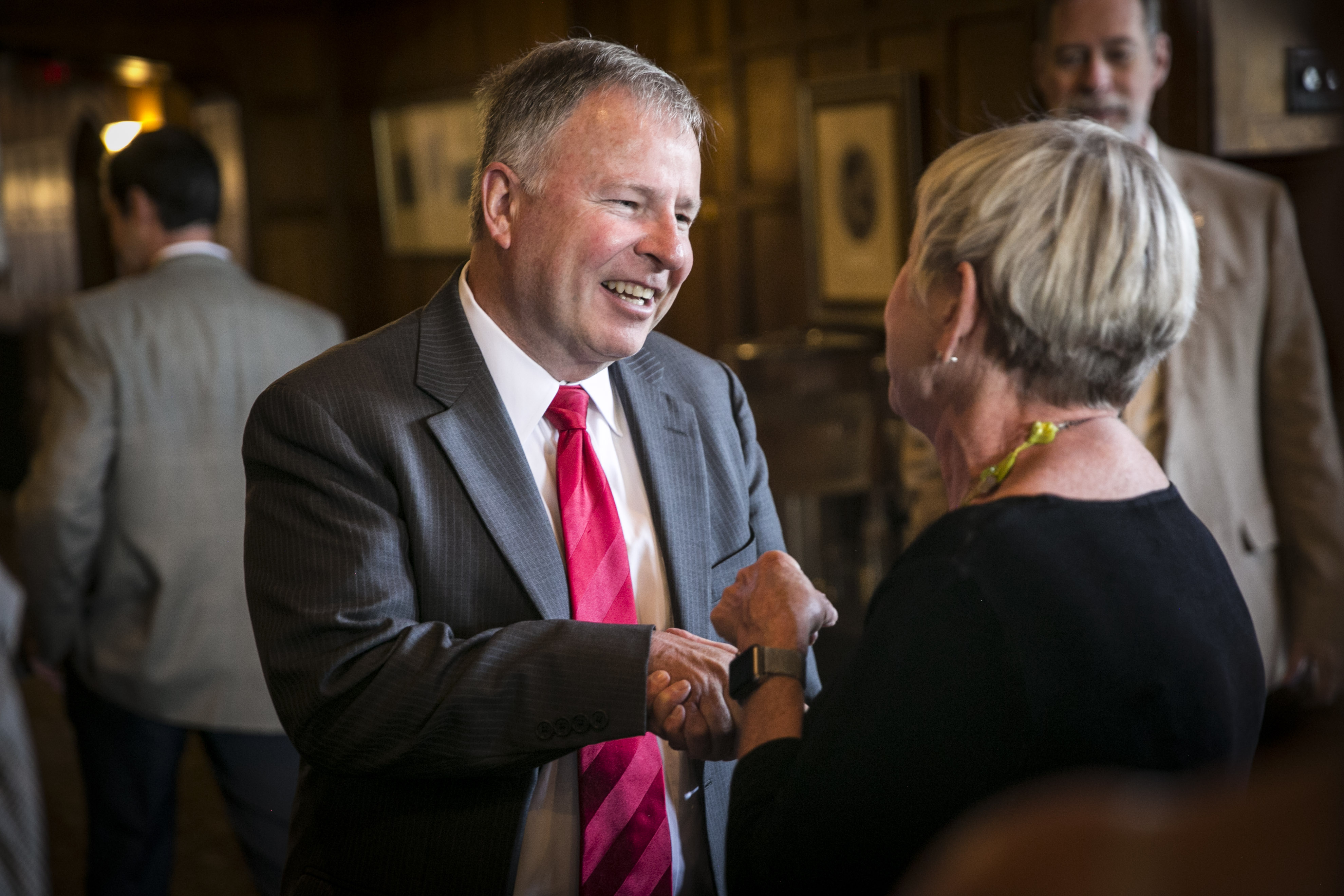<p>U.S.Rep. Doug Lamborn greets a supporter atGlen Eyrie in Colorado Springs on Monday, June 11, 2018.</p>