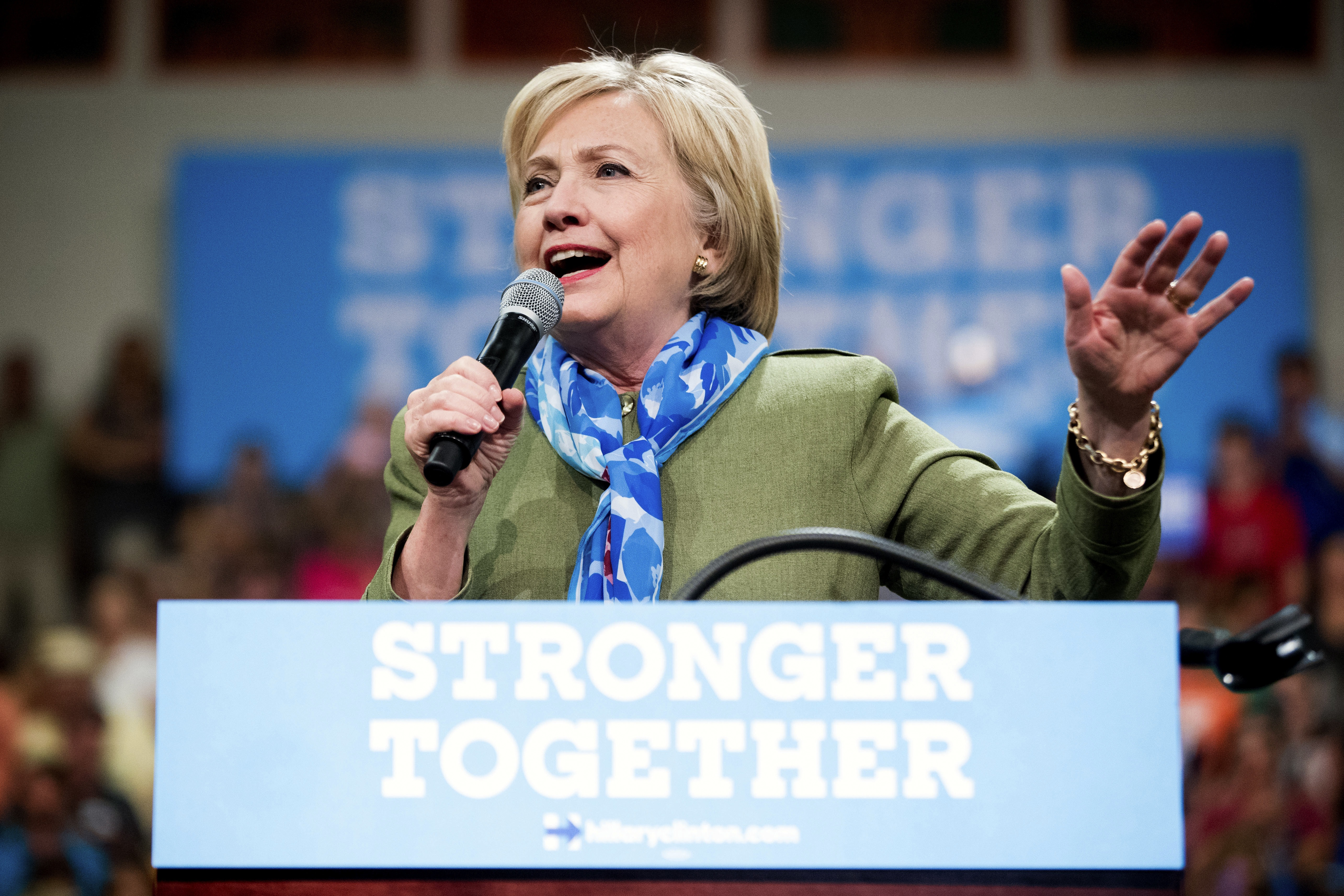 <p>Hillary Clinton campaigned in Commerce City, a suburb north of Denver, on August 3.</p>