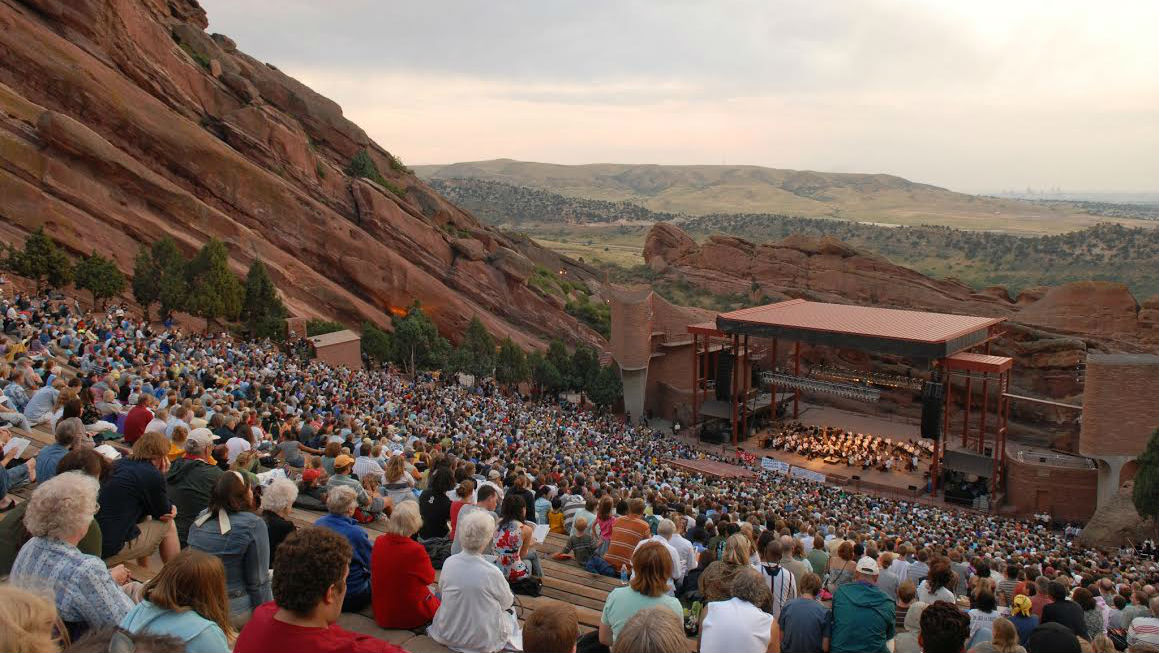 The Colorado Symphony performs at the Red Rocks Amphitheatre in Morrison.