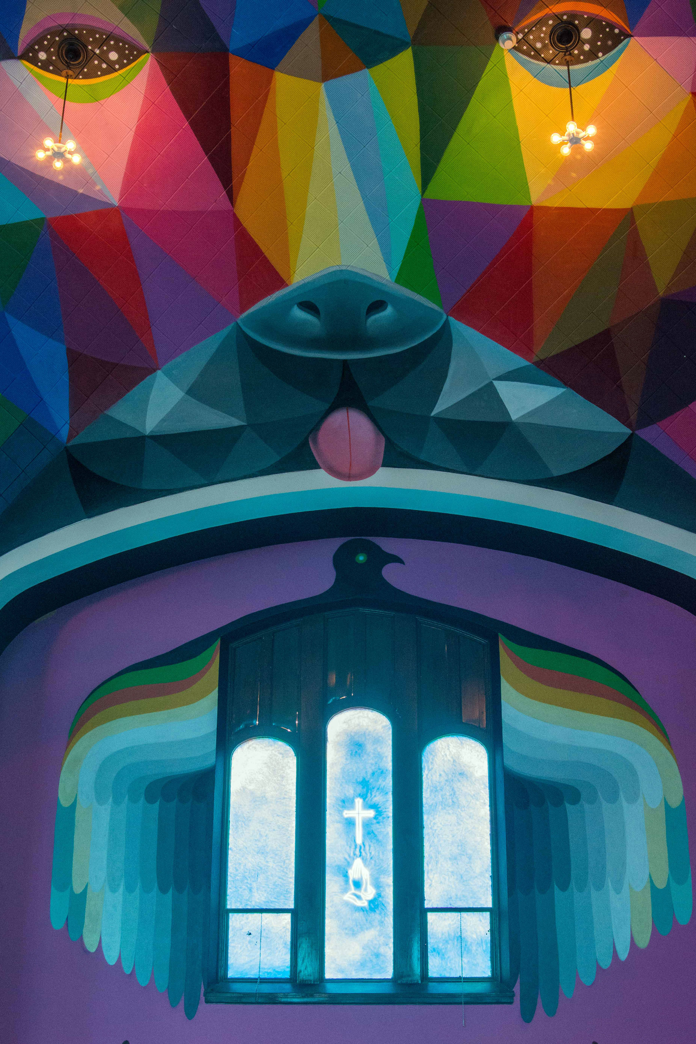 <p>Spanish artist Okuda San Miguel spent one week painting inside the International Church of Cannabis in Denver, which opens on April 20, 2017.</p>