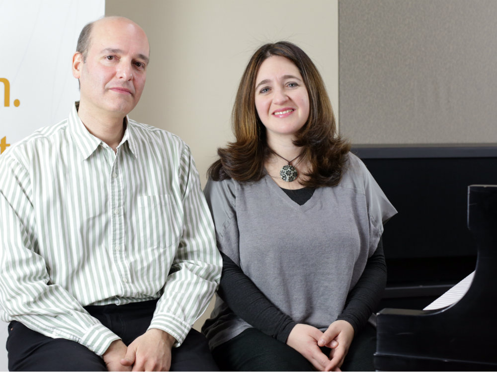 <p>Composer Philip Lasser and pianist Simone Dinnerstein in the CPR Performance Studio.</p>