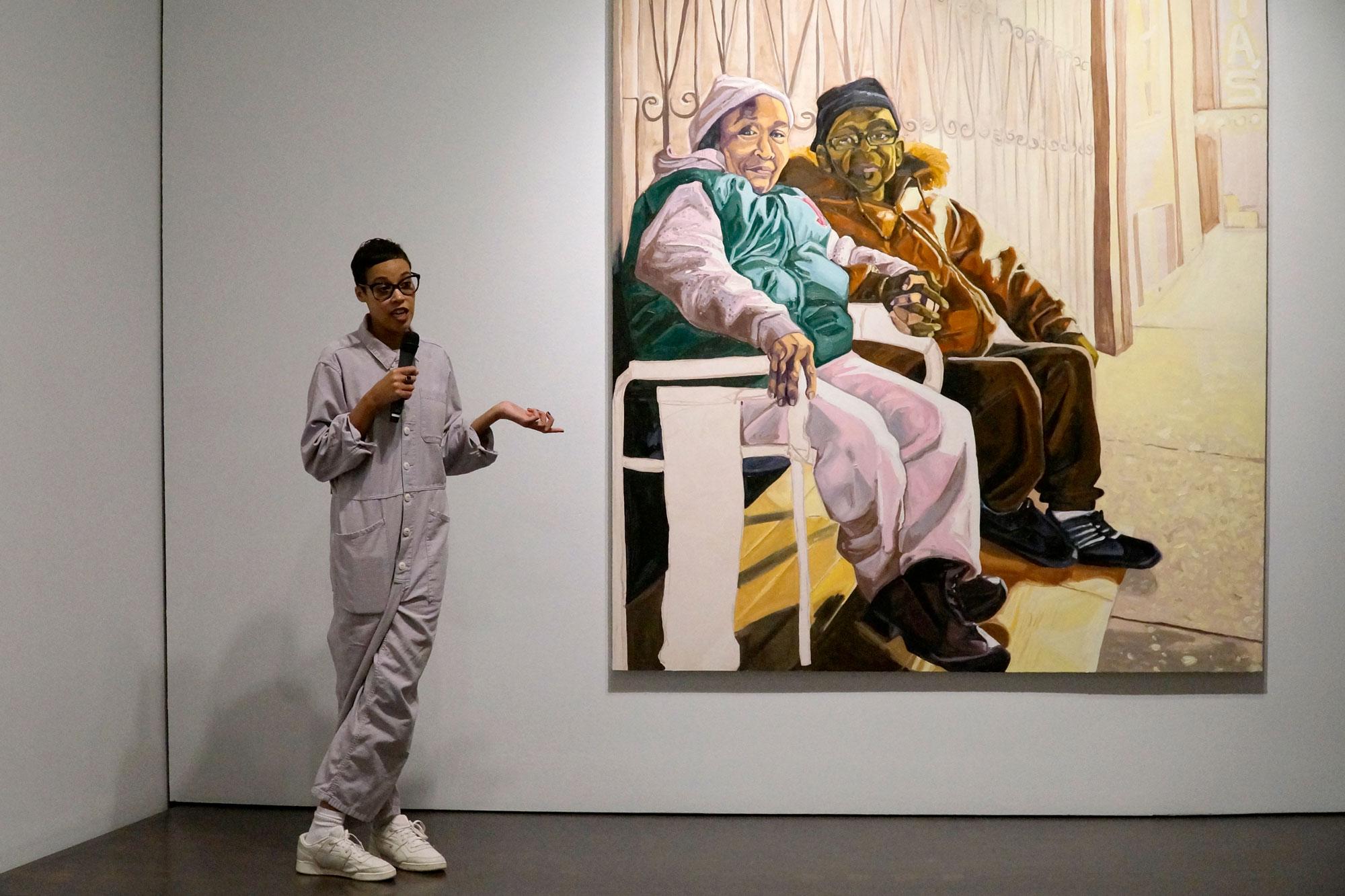 <p>Denver-born portrait artist Jordan Casteel speaks during the Denver Art Museum's media preview of her first solo museum exhibition on Jan. 31, 2019.</p>