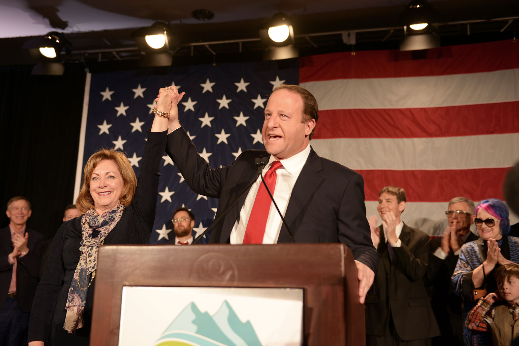 <p>Governor-elect Jared Polis speaks at the Democratic election night party on Tuesday, Nov. 6, 2018.</p>