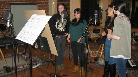 Photo: Failure Lab students record in studio FEATURE