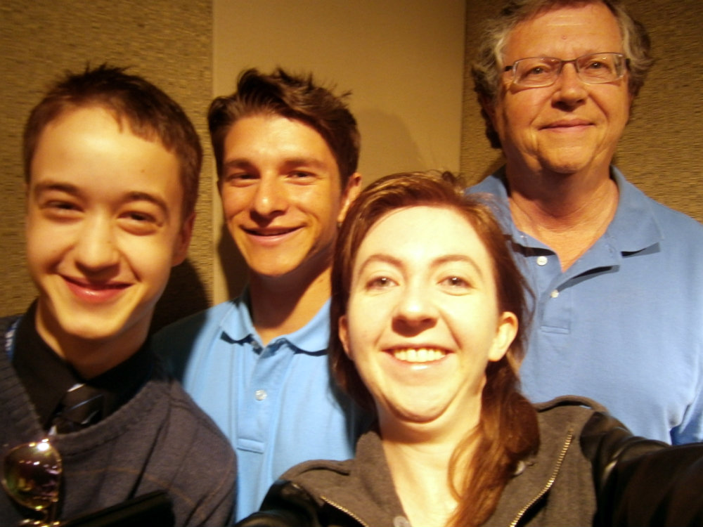 <p>Guest DJs from the Denver Young Artists Orchestra with host Charley Samson, right.</p>