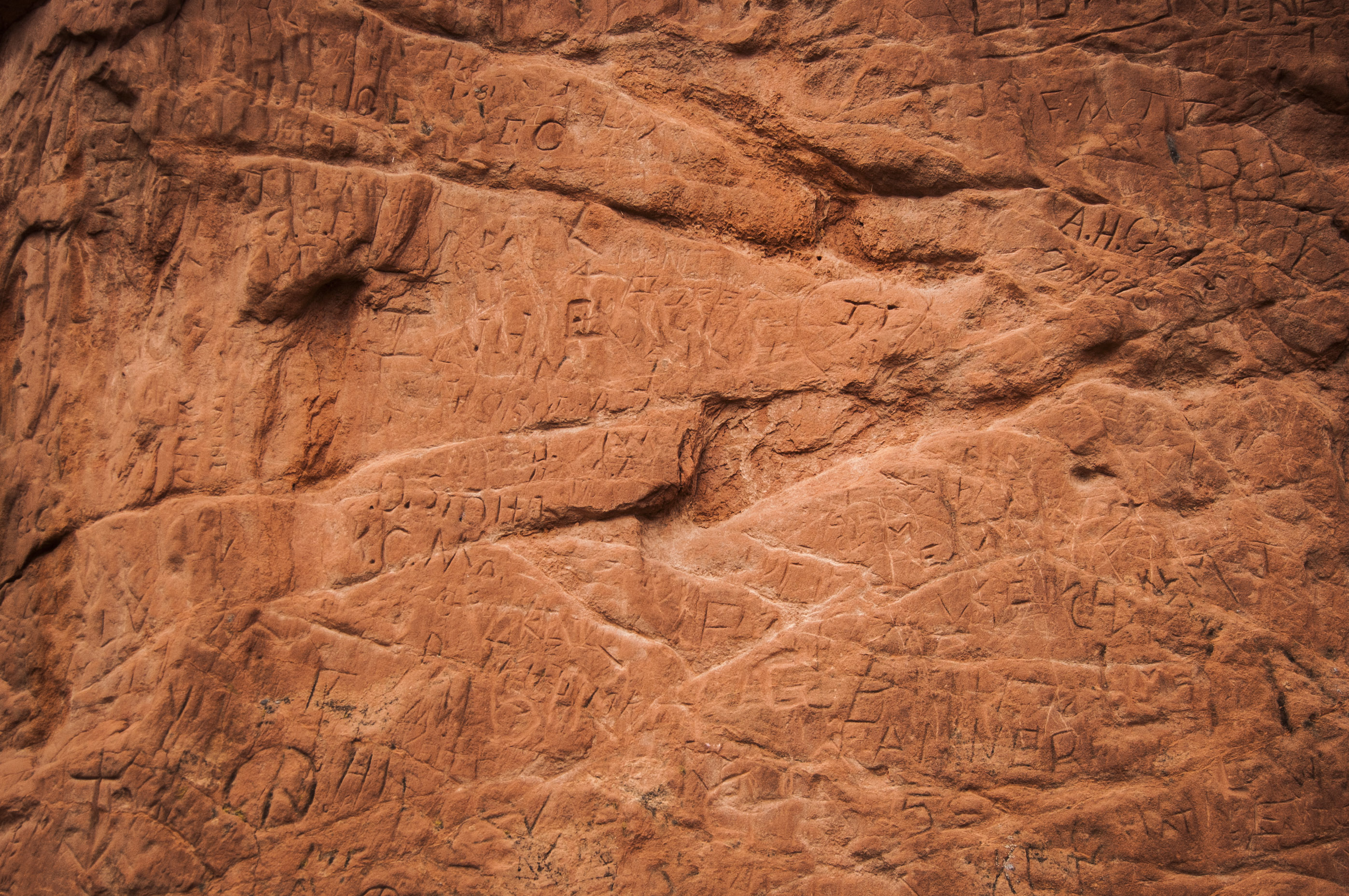 <p>Signature Rock, where visitors have obscured important traces of Colorado history with vandalism over the years. Signature Rock is no longer part of official tours through Garden of the Gods.</p>