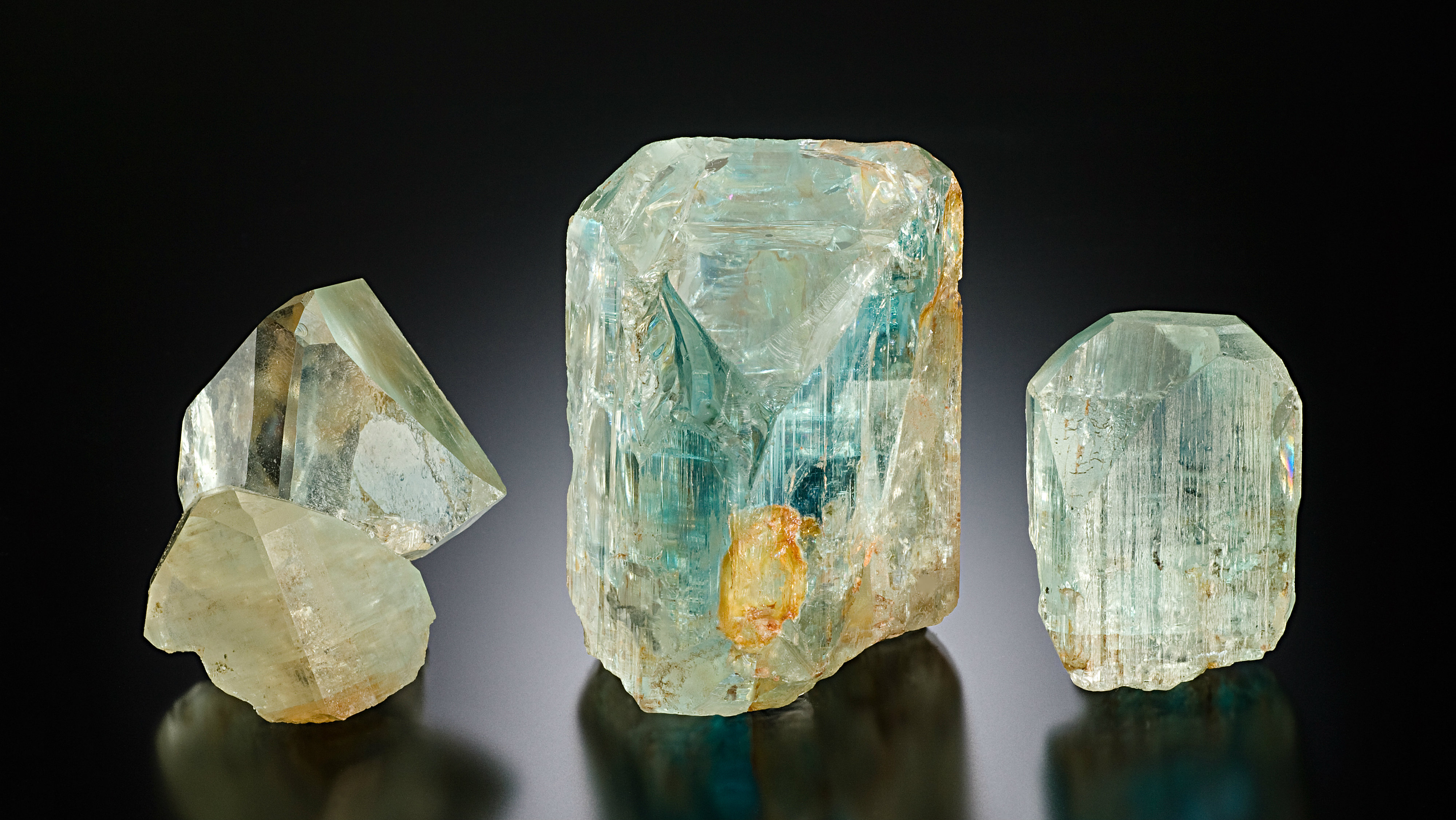 <p> Three Topaz crystals from the Tarryall Mountains in Colo. The largest one weighs 8.5 ounces.</p>