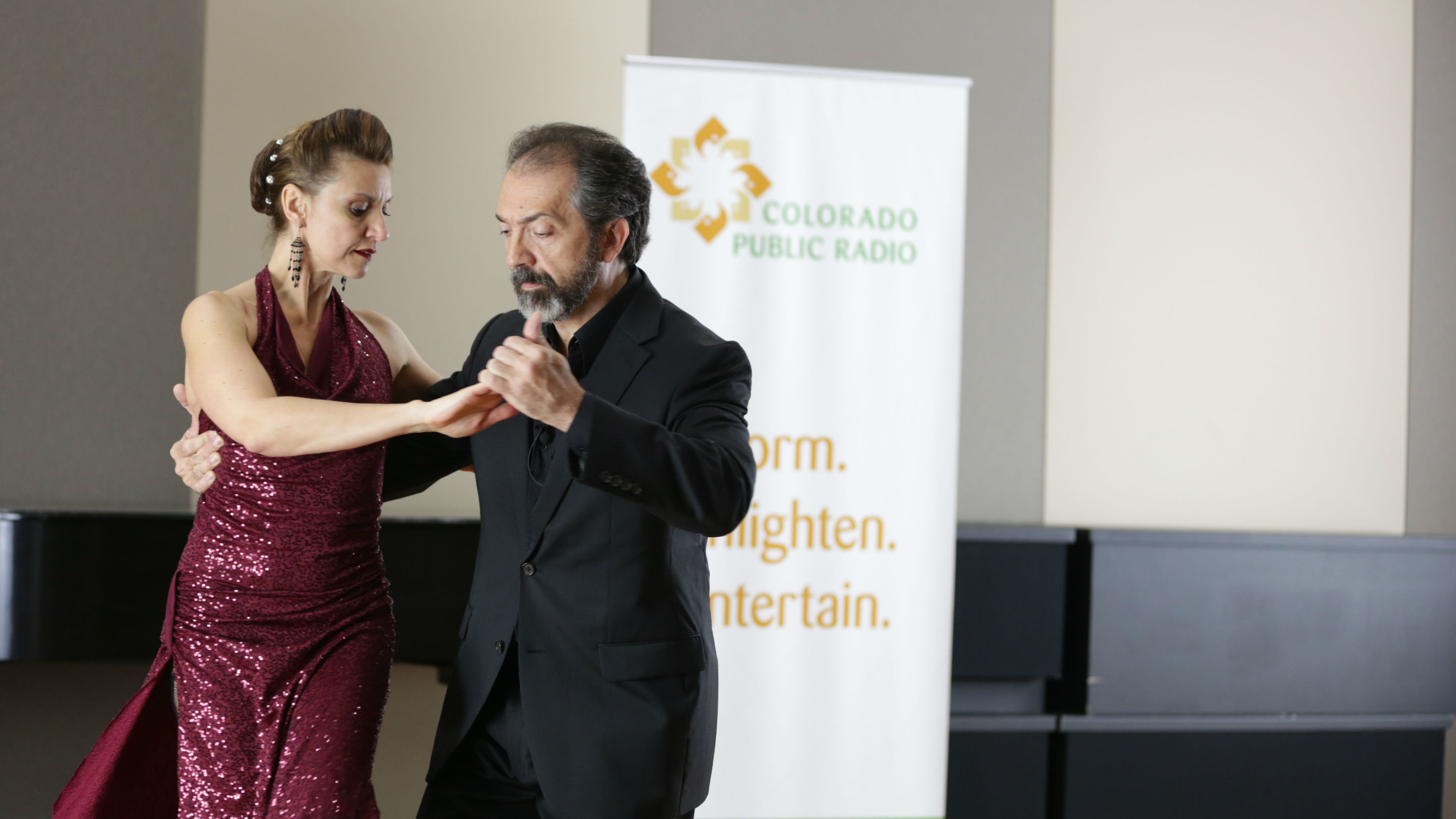 <p>Dancers Giselle Anne and Gustavo Naveira perform an Argentine tango in the CPR Performance Studio</p>