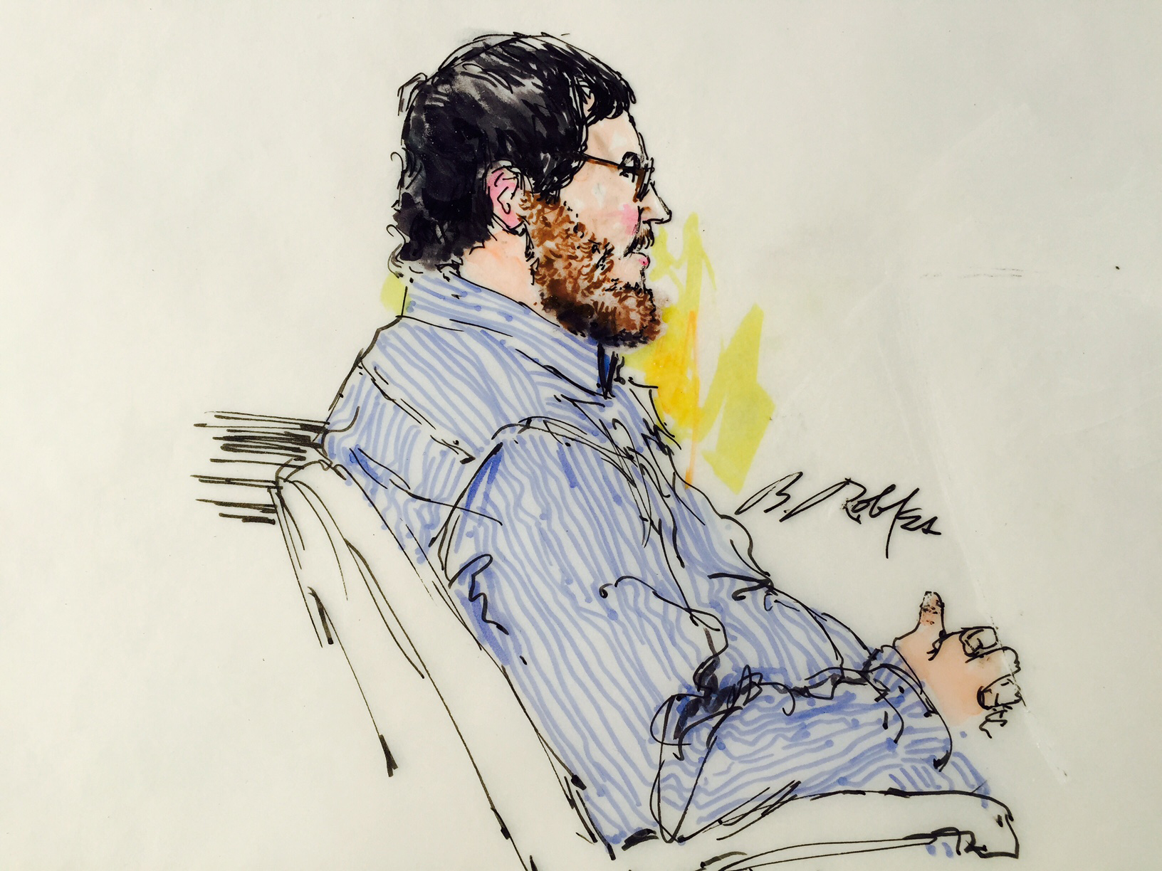 Photo: James Holmes sketch, profile, Aurora theater shooting trial