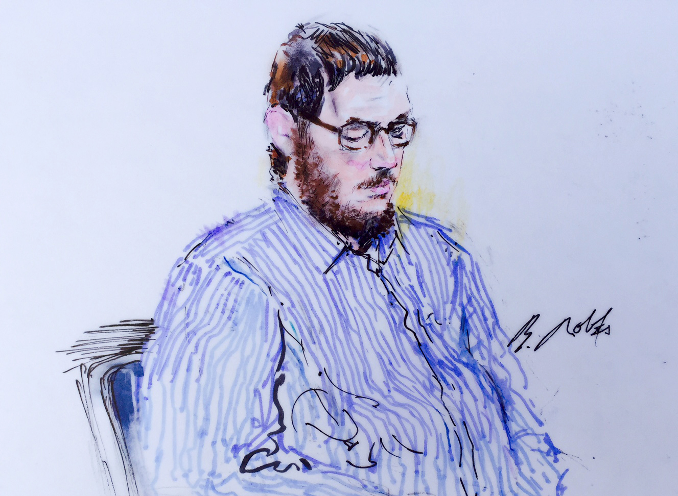 Photo: James Holmes sketch, looking down, Aurora theater shooting trial