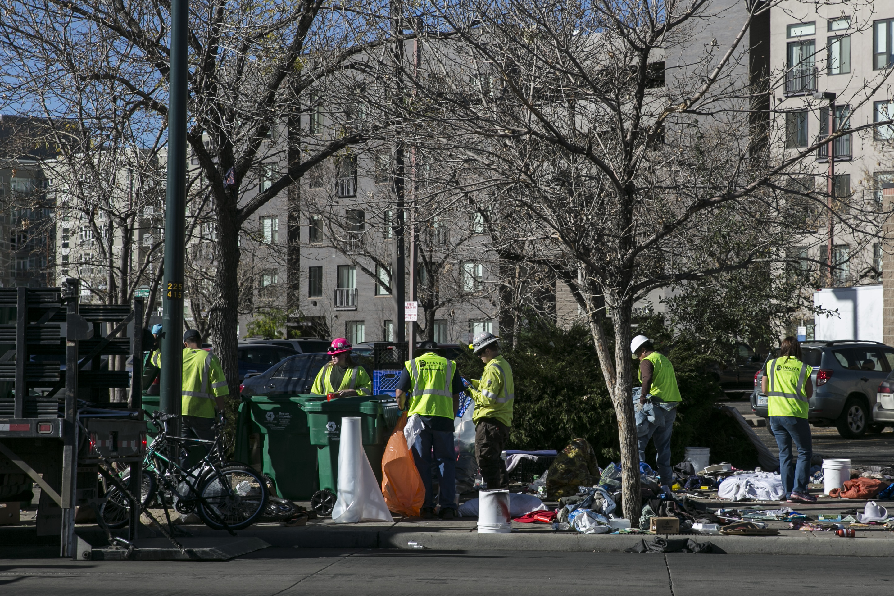 <p>City crews clear a homeless camp in downtown Denver on Tuesday, Nov. 15, 2016.</p>
