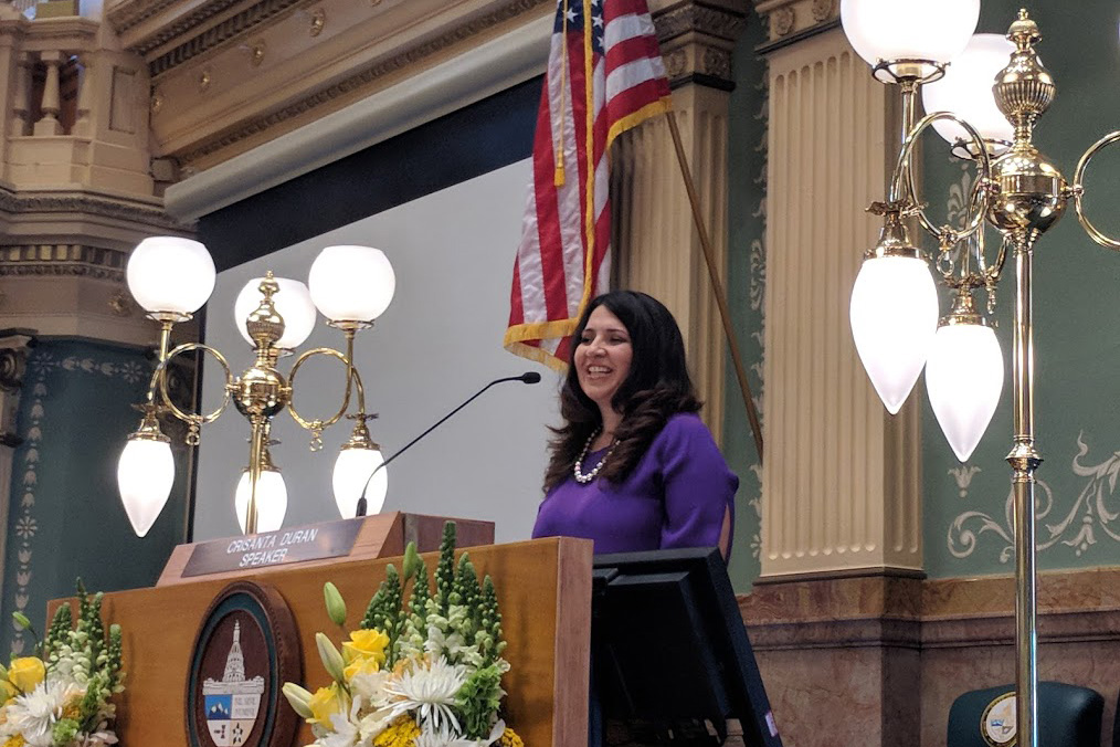 <p>Colorado House Speaker Crisanta Duran speaks at the opening of the legislative session on Wednesday, Jan. 10, 2018.</p>