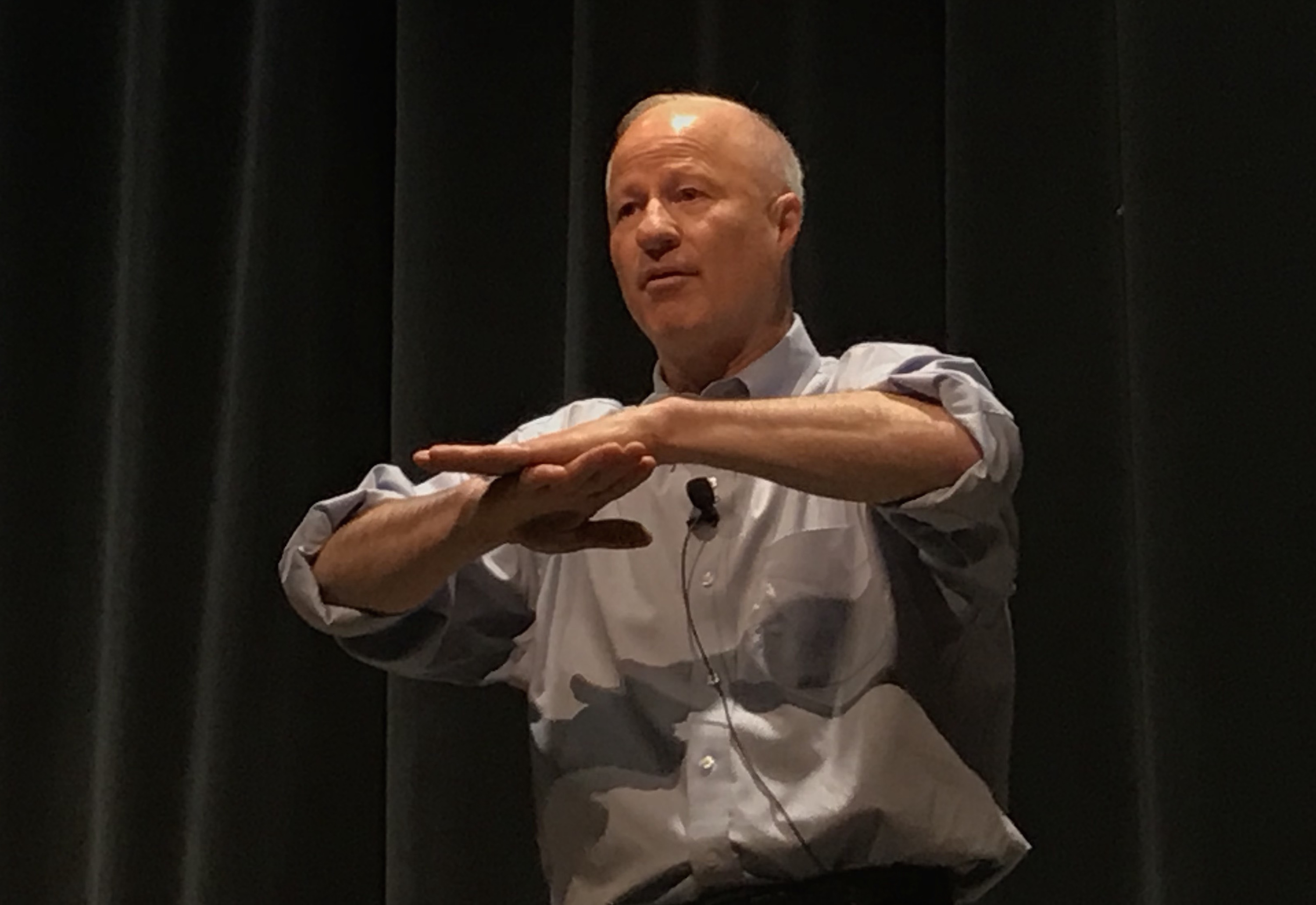 <p>GOP Rep. Mike Coffman makes a point during  a town hall gathering at Cherry Creek High School Tuesday, Feb. 20, 2018.</p>