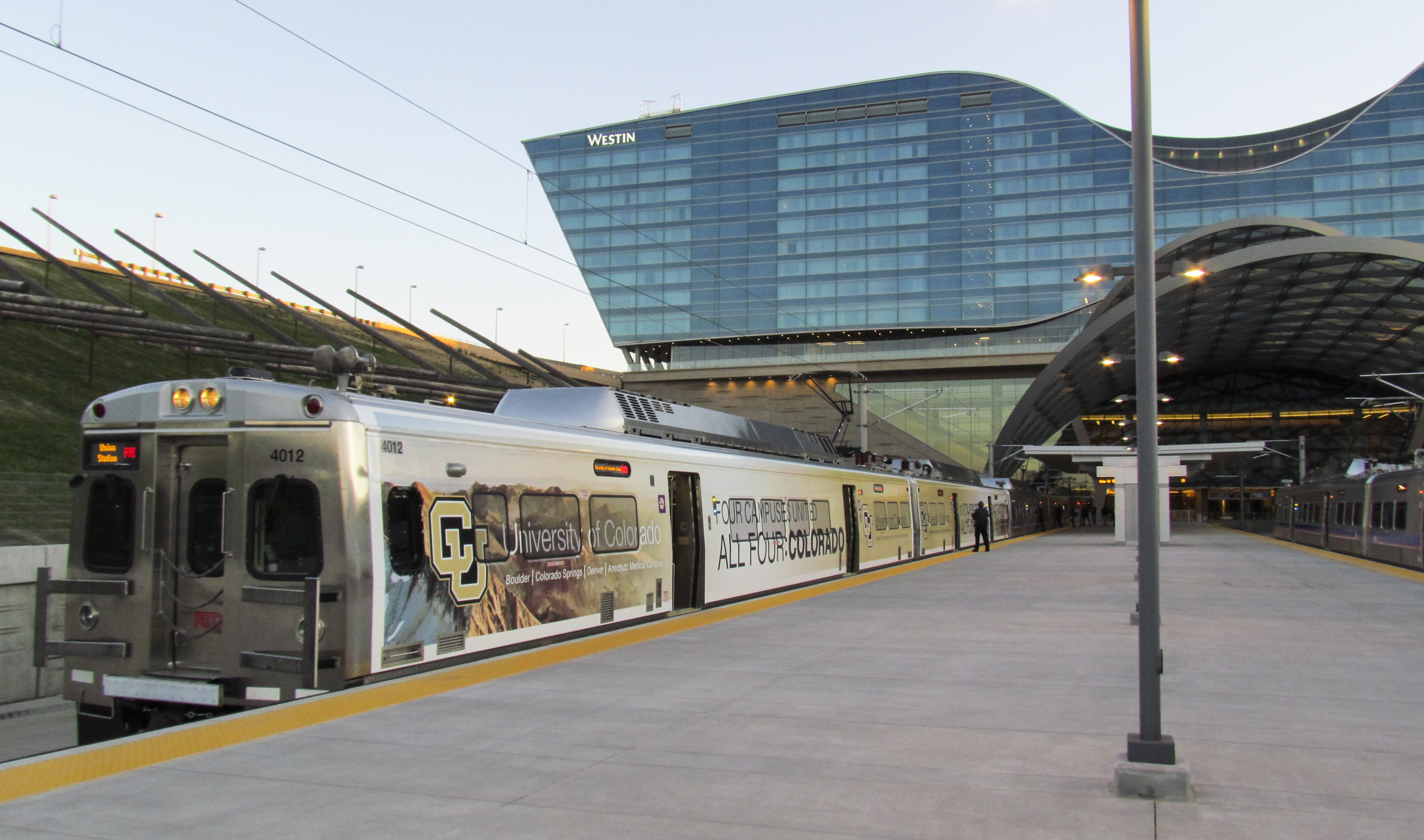<p>An A Line train rests at the Denver International Airport platform on the line's opening day, Friday, April 22, 2016.</p>