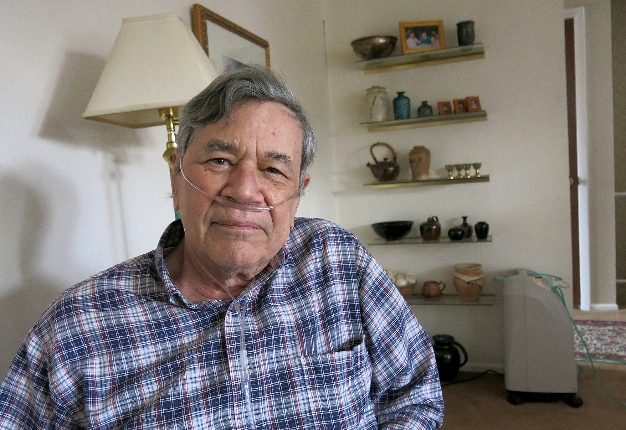 <p>Mike Manes is a retired U.S. Navy veteran who gets his healthcare from the VA, in his home near Littleton on Wednesday, April 1, 2015.</p>