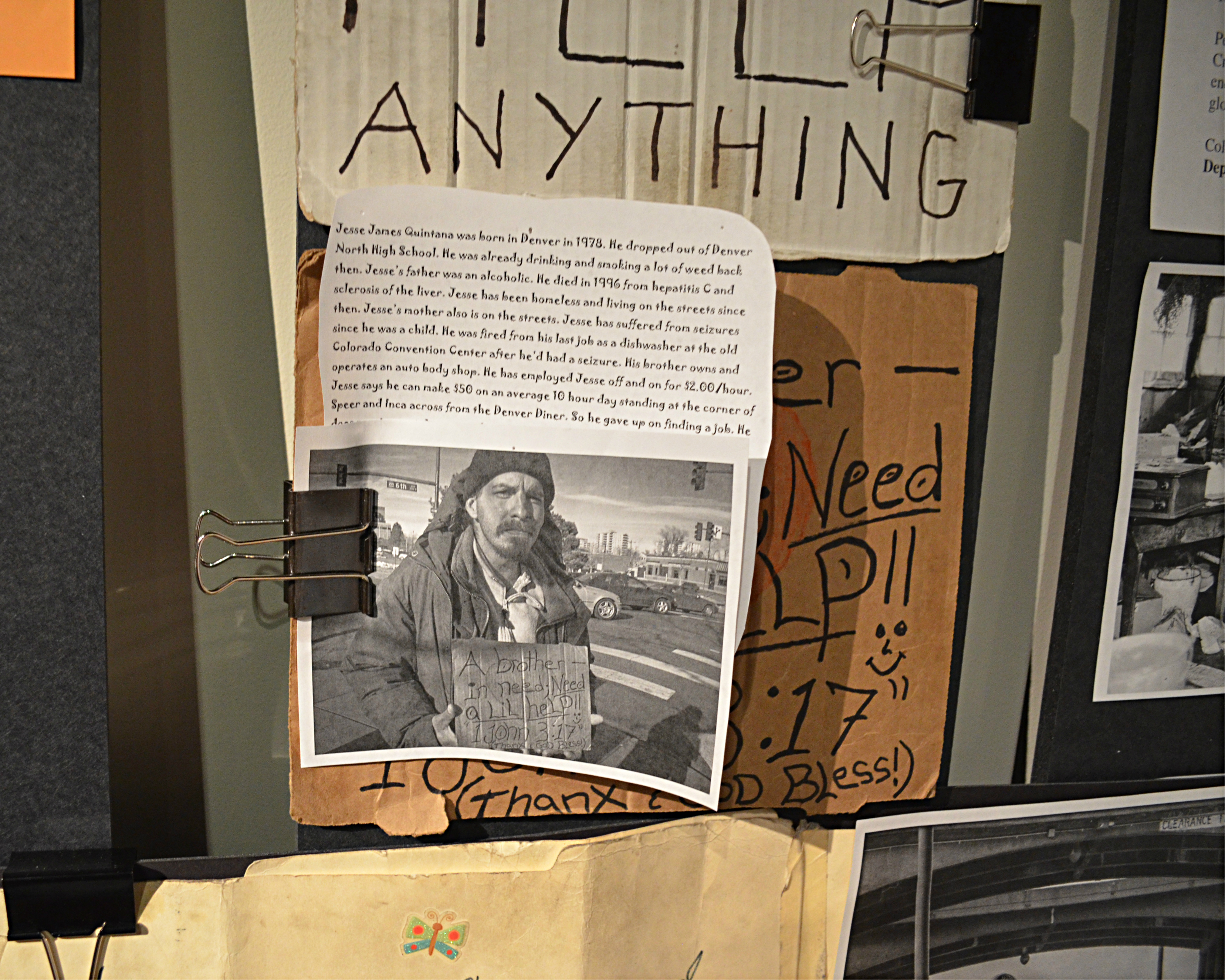 <p>In addition to signs, the draft display includes photos and stories of some of the homeless population in Denver.</p>
