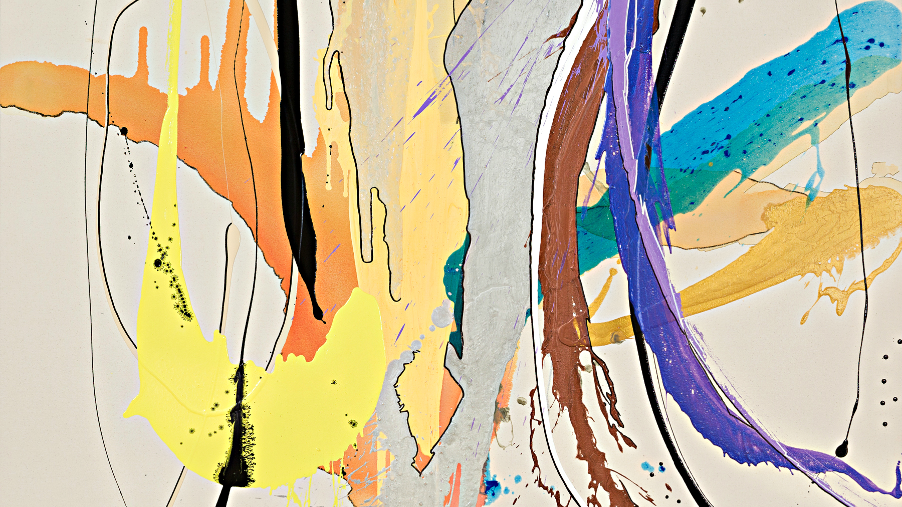 """<p>Laura Krudener, """"Dripping in Gold,"""" 2013, acrylic, enamel, charcoal, and marker on raw canvas.</p>"""