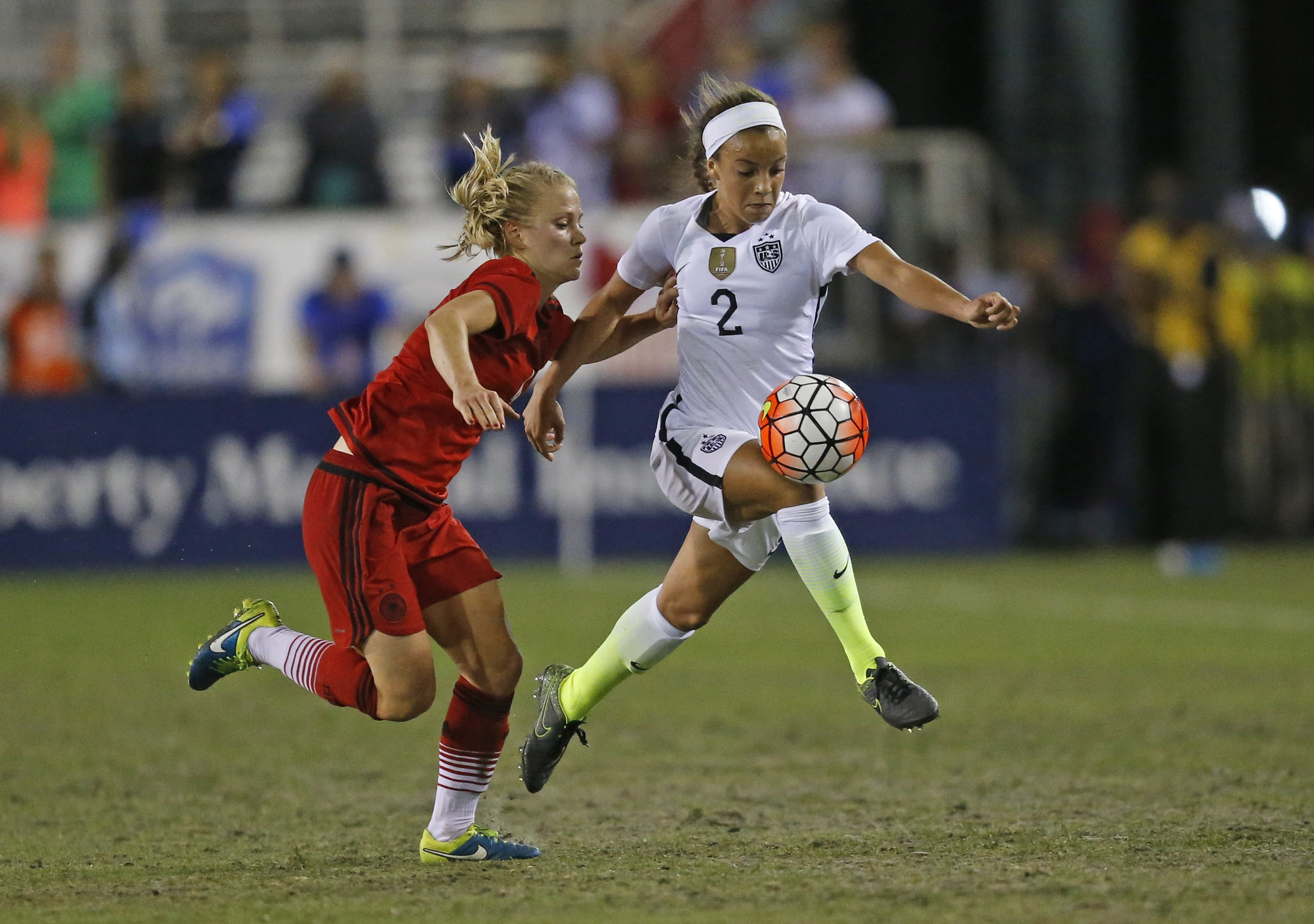<p>Mallory Pugh, right, plays in a U.S. women's soccer match against Germany in March, 2016. </p>