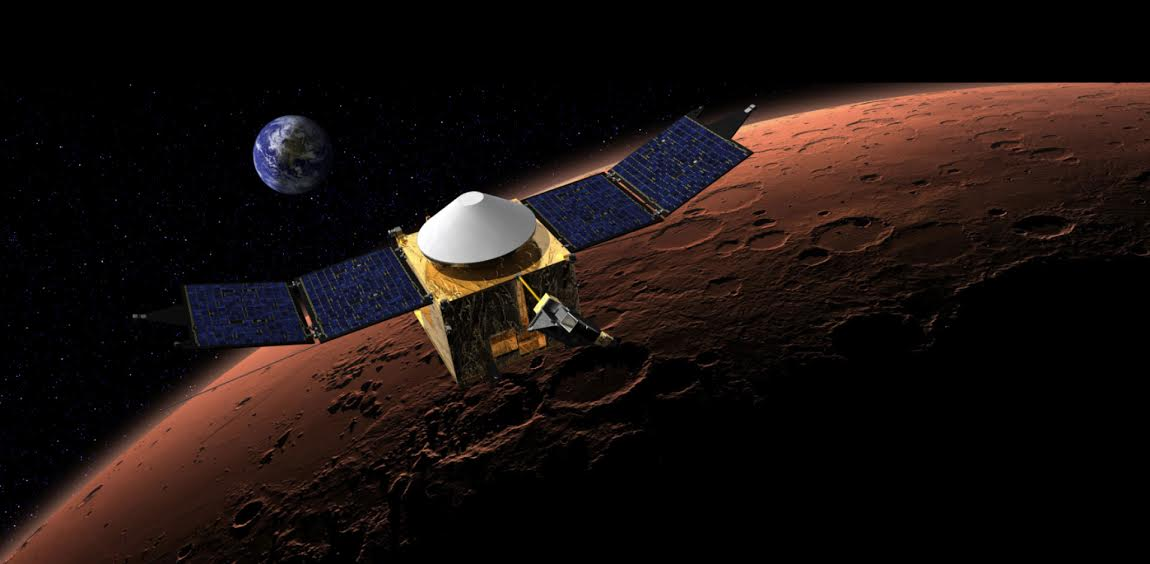 """<p><span style=""""color: rgb(34, 34, 34); font-family: arial, sans-serif; font-size: 13.3333339691162px; line-height: normal;"""">An artist's rendering of the MAVEN spaceship in orbit around Mars.</span></p>"""