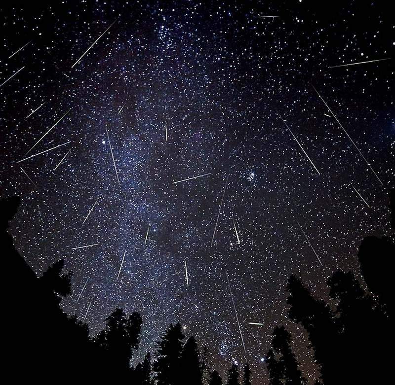 <p>The Perseids meteor shower in August fills the sky with shooting stars.</p>