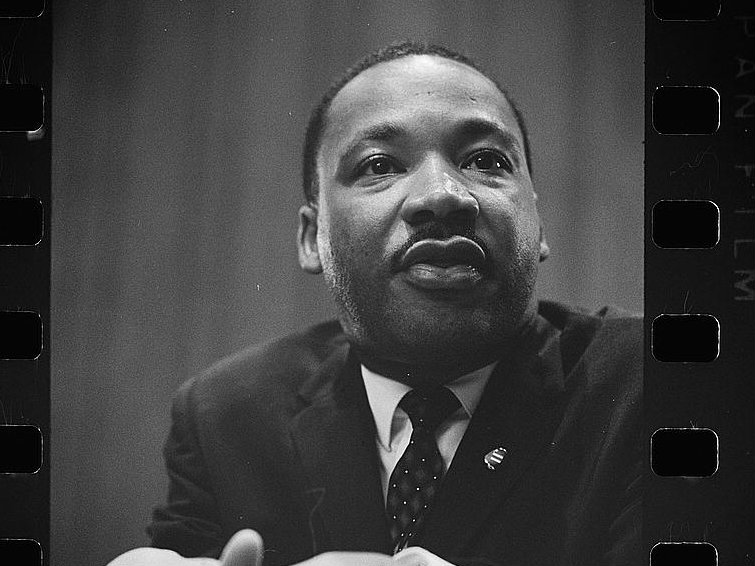 A photo negative of civil rights leader Martin Luther King, Jr., at a 1964 press conference. King was assassinated on April 4, 1968.