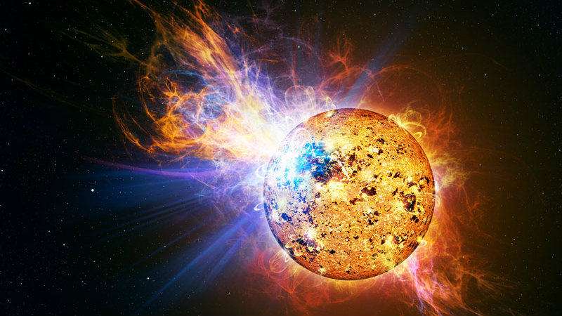 """<p>An artist depicts the incredibly powerful flare that erupted from the red dwarf star EV Lacertae. This is one of the images NASA posted to social media during a recent broadcast of """"Cosmos.""""</p>"""