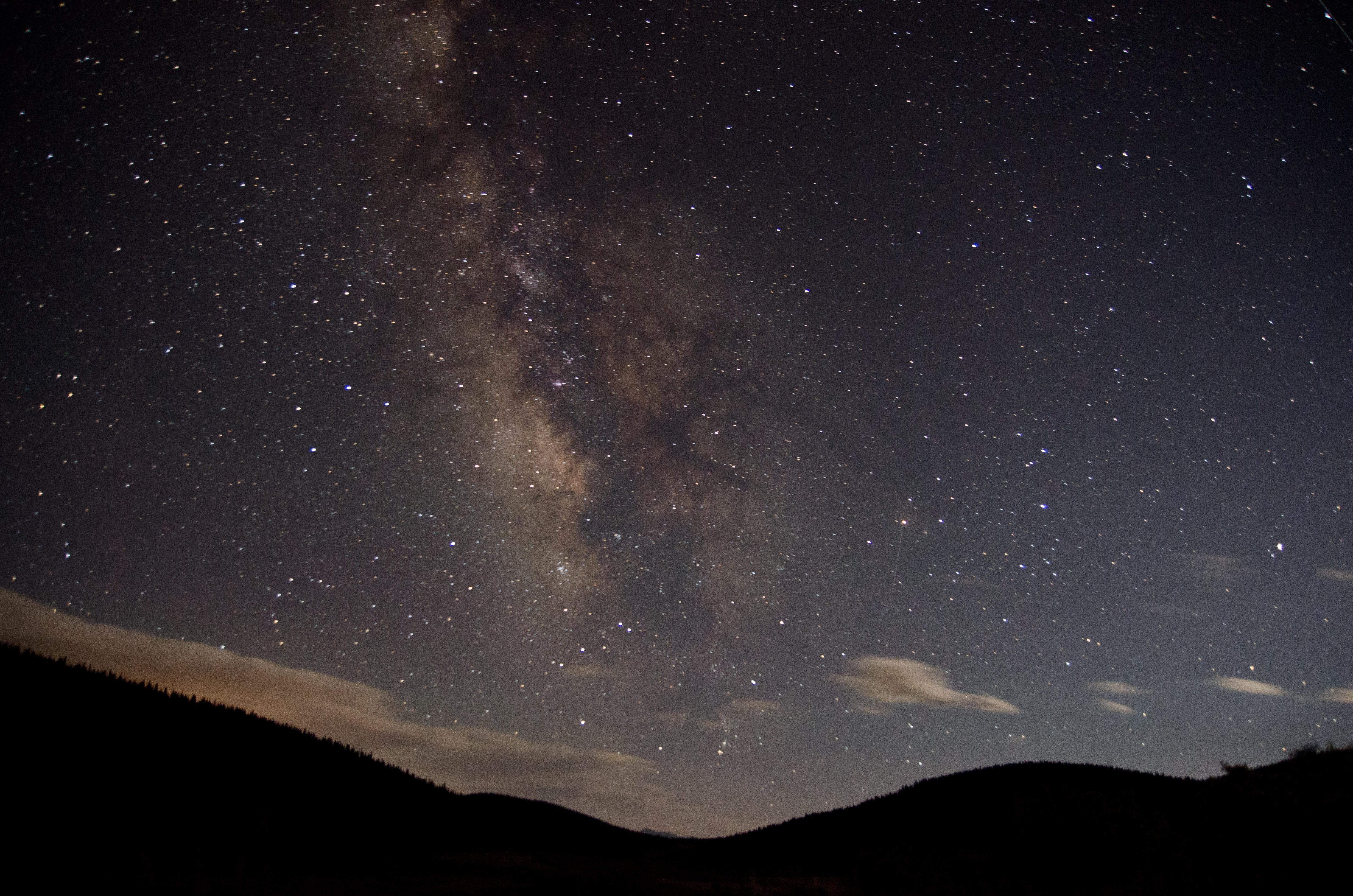 The night sky looking south at Buffalo Peaks Wilderness Area north of Buena Vista, Colorado.