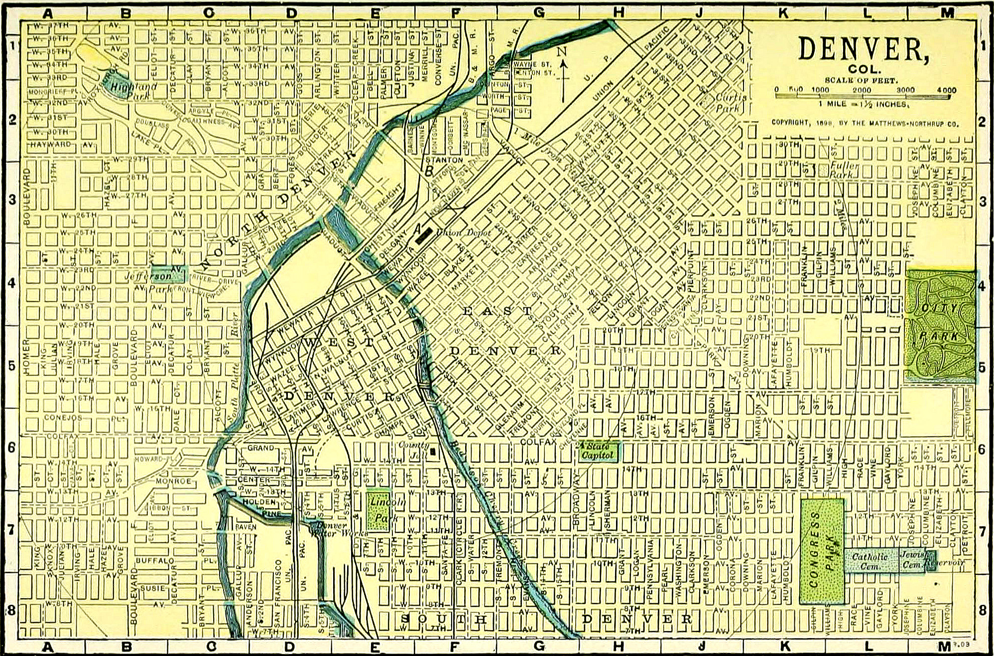 <p>A map showing Denver's street grid in 1898.</p>