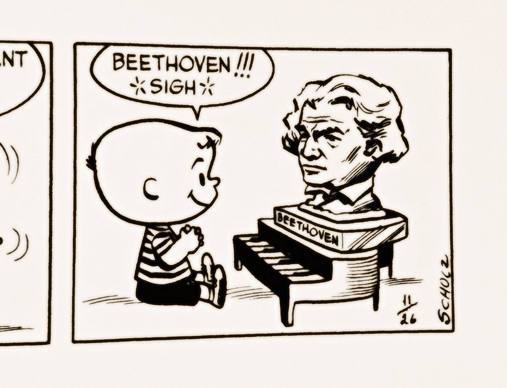 <p>A panel of <em>Peanuts</em> fromNovember 1951: Schroeder at his toy piano, with his beloved Beethoven.</p>