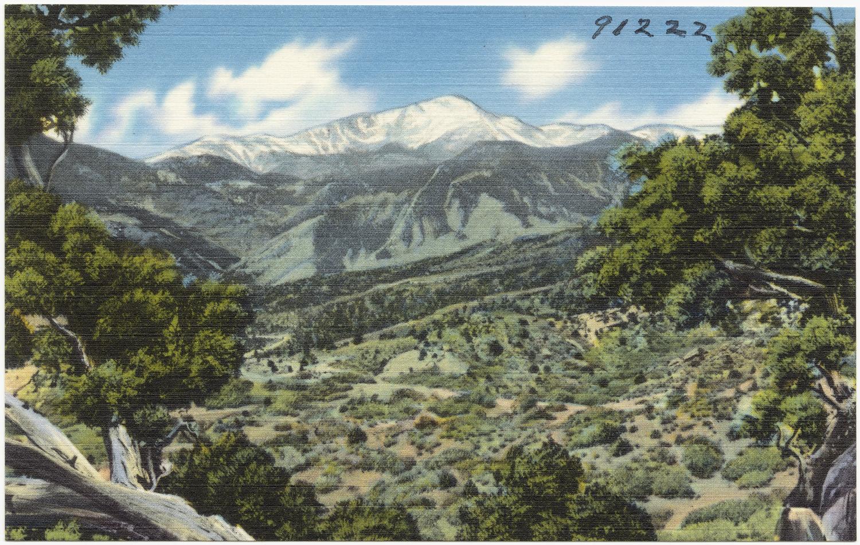 <p>Vintage postcard of Pikes Peak.</p>