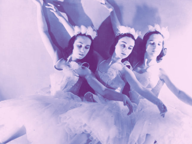 "<p>Members of the Ballet Russe de Monte Carlo in a production of Tchaikovsky's ""The Nutcracker."" </p>"
