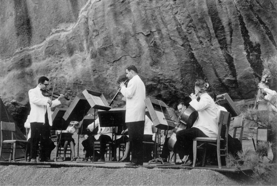 The Denver Chamber Music Society performs at Red Rocks circa the 1940s.